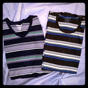 Lot of 2 XXL TALL Blue Green Black Stripe Shirts